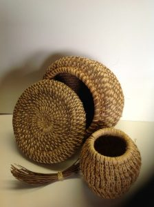 Pam's first two pine needle baskets