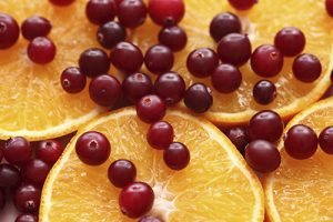 Orange slices and red cranberries